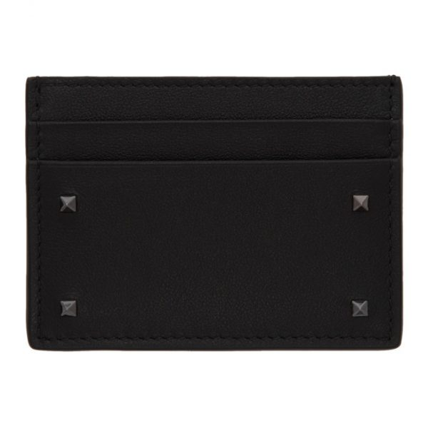 Valentino Black Valentino Garavani Mini Rockstud Card Holder