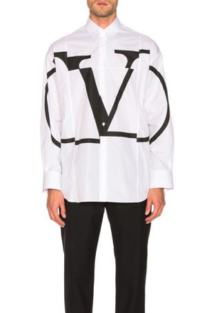Valentino Logo Long Sleeve Shirt in White. - size 38 (also in 39,40,41)