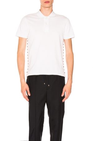Valentino Studded Polo in White. - size S (also in L,M,XS)