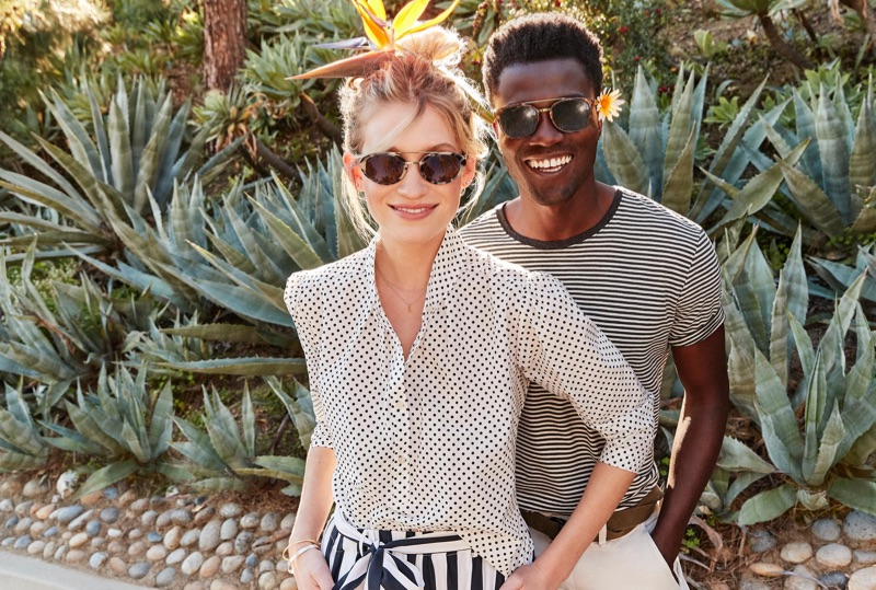 Reuniting with Warby Parker, Remi Alade-Chester wears the brand's Fairfax sunglasses in cognac tortoise with polished gold.