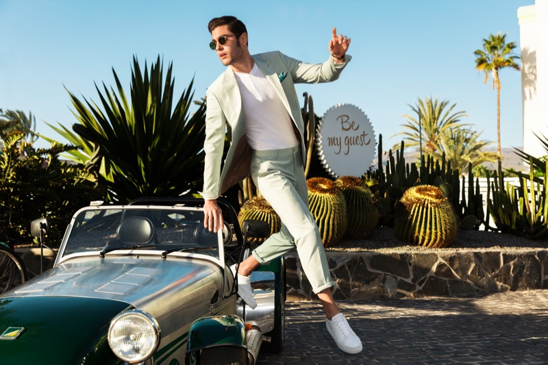French model René Grincourt suits up for Wormland's spring-summer 2019 campaign.