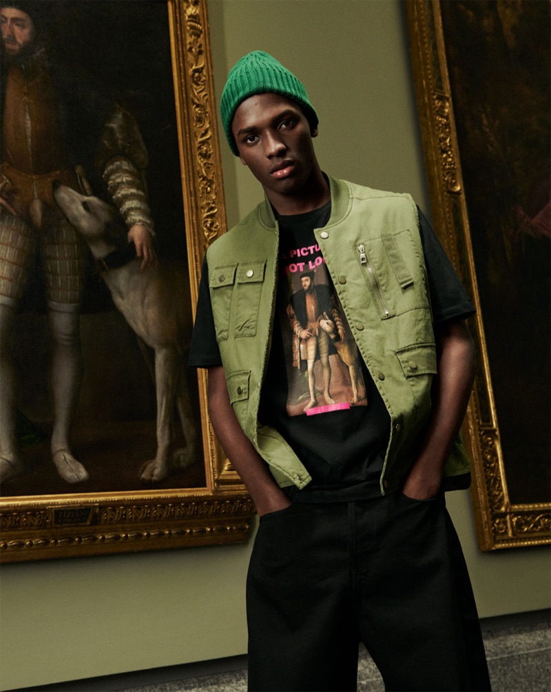 Linking up with Zara Man, Daniel Morel wears a t-shirt from the brand's Work of Art collection.