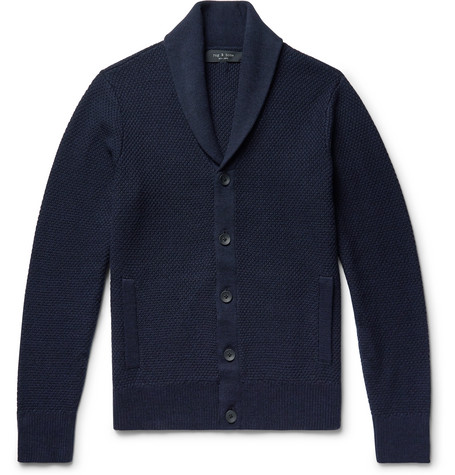 rag & bone - Cardiff Shawl-Collar Merino Wool and Cotton-Blend Cardigan - Men - Navy