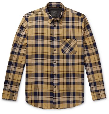 rag & bone - Fit 3 Beach Checked Herringbone Cotton-Blend Shirt - Men - Yellow