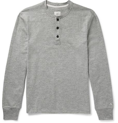 rag & bone - Slim-Fit Mélange Cotton-Blend Jersey Henley T-Shirt - Men - Gray