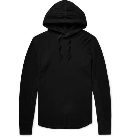 rag & bone - Waffle-Knit Cotton Hoodie - Men - Black