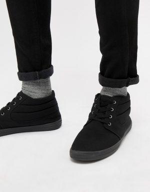 ASOS DESIGN chukka boots in black canvas - Black