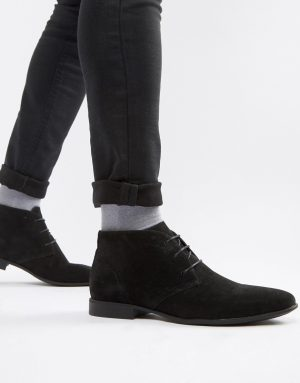 ASOS DESIGN chukka boots in black faux suede - Black