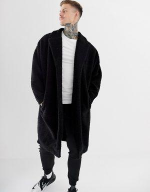 ASOS DESIGN extreme oversized borg duster jacket in black - Black