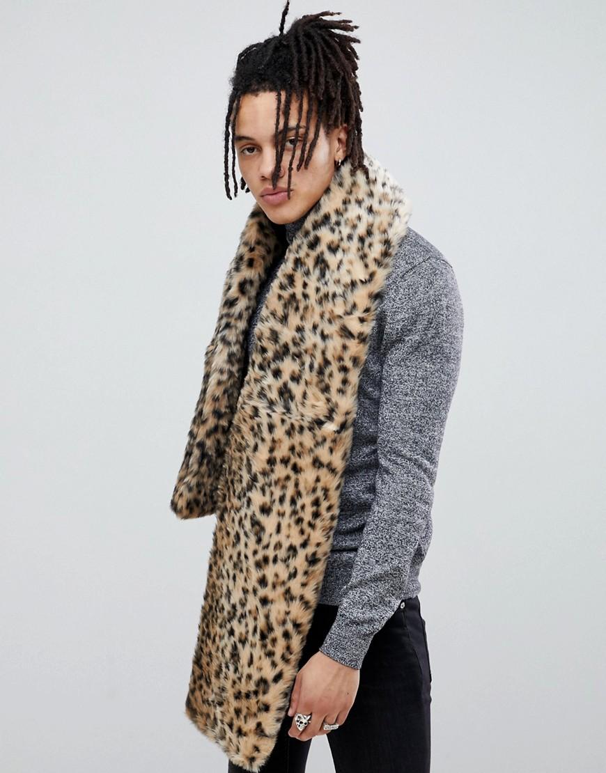 32eaa63b9 ASOS DESIGN faux fur scarf in leopard – Black | The Fashionisto
