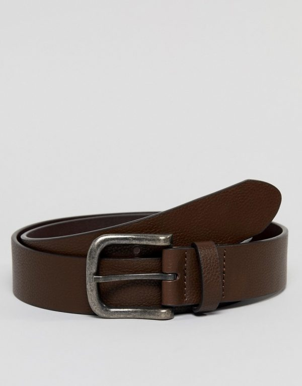 ASOS DESIGN faux leather wide belt in brown with burnished buckle - Brown