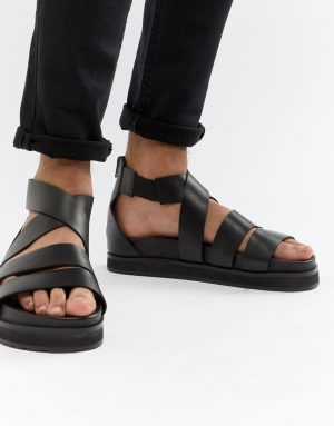ASOS DESIGN gladiator sandals in black leather with chunky sole - Black