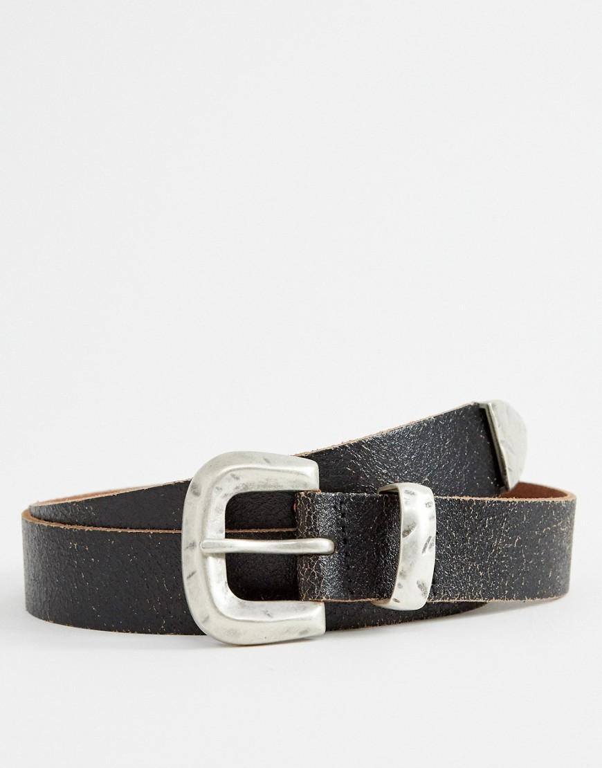 66600d63d05 ASOS DESIGN leather slim belt in vintage black with western buckle – Black