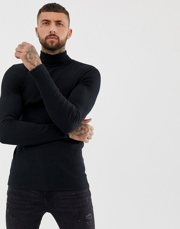 ASOS DESIGN long sleeve muscle fit ribbed roll neck t-shirt with stretch in black - Black