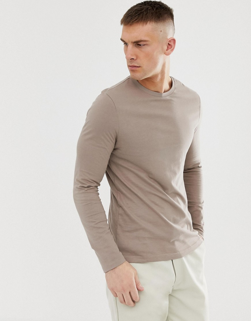 0f0e73494 ASOS DESIGN long sleeve t-shirt with crew neck in beige – Gray | The  Fashionisto