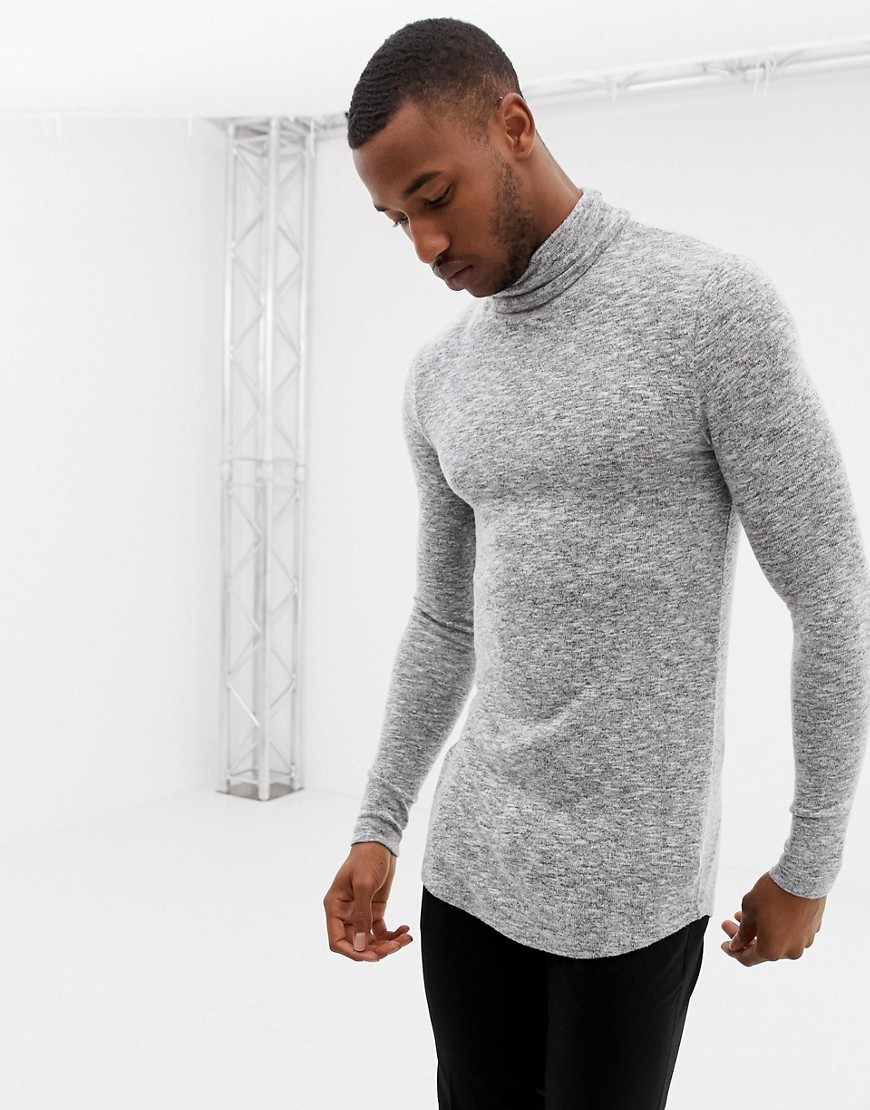 abf215f1 ASOS DESIGN muscle fit longline long sleeve t-shirt with roll neck and curved  hem in brushed fabric in gray – Gray