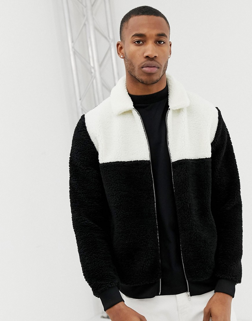 2bc393b9b4 ASOS DESIGN oversized harrington jacket with color block in black and white  borg – Black