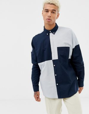ASOS DESIGN oversized oxford shirt in cut & sew - Navy