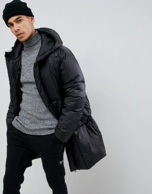 ASOS DESIGN oversized puffer jacket with detachable mittens in black - Black