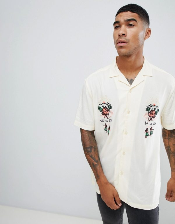 ASOS DESIGN oversized revere shirt with embrodiery - Beige