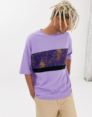 ASOS DESIGN oversized t-shirt with marble print panel with half sleeve - Purple