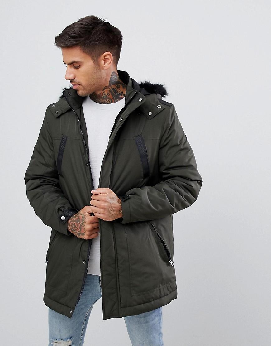 e8ae88943 ASOS DESIGN parka jacket with faux fur trim in khaki - Green