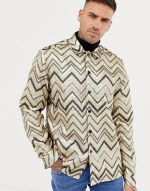 ASOS DESIGN party chevron stripe overshirt in gold - Gold