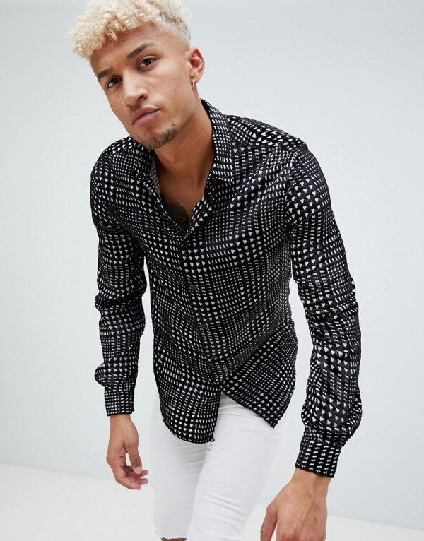 ASOS DESIGN regular fit houndstooth velvet burnout check shirt - Black