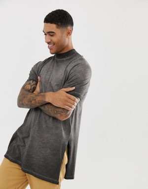 ASOS DESIGN relaxed super longline t-shirt with turtleneck and side splits in textured fabric with gray pigment wash - Gray