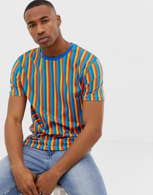 ASOS DESIGN relaxed t-shirt in vertical rainbow stripe - Multi