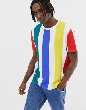 ASOS DESIGN relaxed t-shirt with thick vertical rainbow stripe - White
