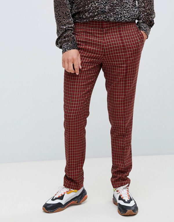 ASOS DESIGN skinny smart pants in micro red and orange check - Red