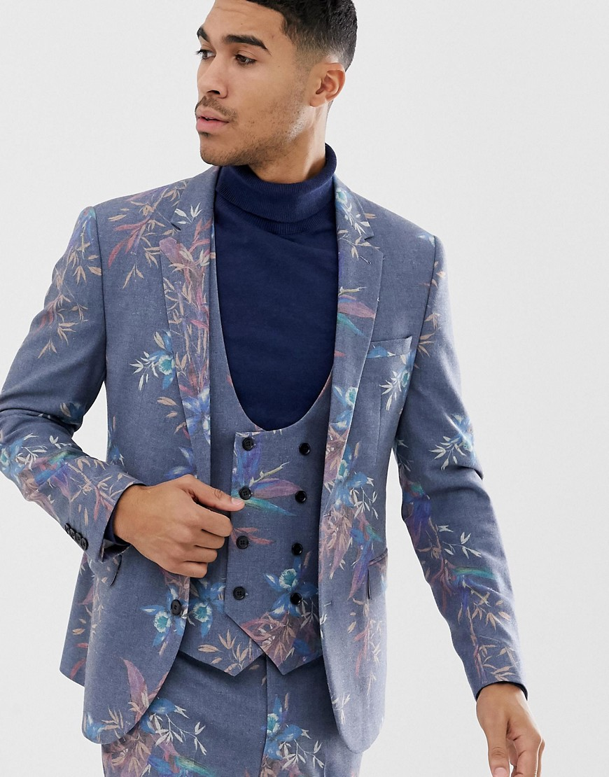 51e1464dfe3 ASOS DESIGN skinny suit jacket in printed blue floral wool mix – Blue
