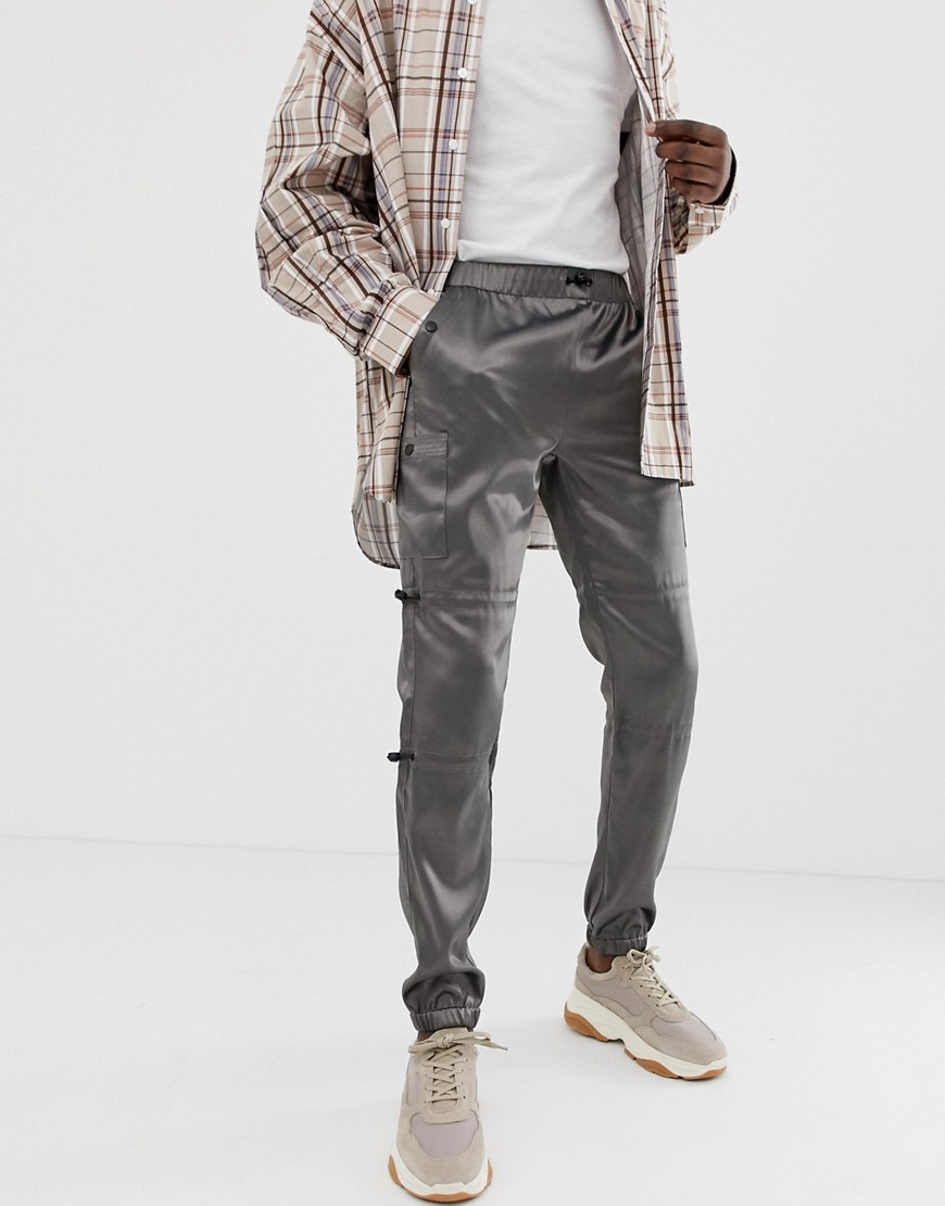 66574269 ASOS DESIGN slim cargo pants in gray with black trims – Gray | The ...