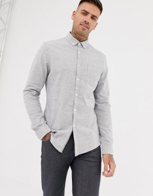 ASOS DESIGN slim oxford shirt in gray yarn dye - Gray