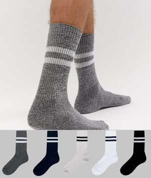 ASOS DESIGN sport socks in gray and navy with stripes 5 pack - Multi