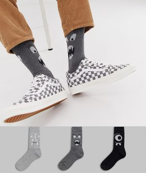 ASOS DESIGN sports style socks with monster faces 3 pack - Gray