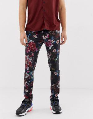 ASOS DESIGN super skinny pants in floral print - Black