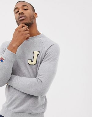 ASOS DESIGN sweatshirt with boucle letter patch and sleeve embroidery in gray - Gray