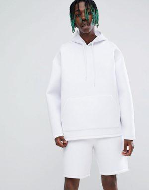 ASOS DESIGN two-piece oversized hoodie in white scuba - White