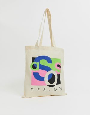 ASOS DESIGN unisex tote bag in beige with abstract asos print - Cream