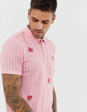 ASOS DESIGN vertical striped polo with rose embroidery - Pink