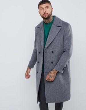 ASOS DESIGN wool mix double breasted overcoat in charcoal - Gray