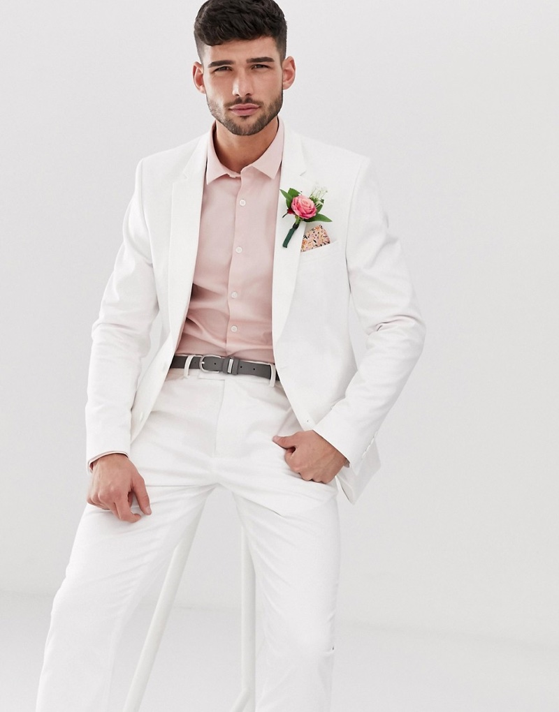 ASOS Design Wedding Skinny Suit Jacket in Stretch Cotton $110