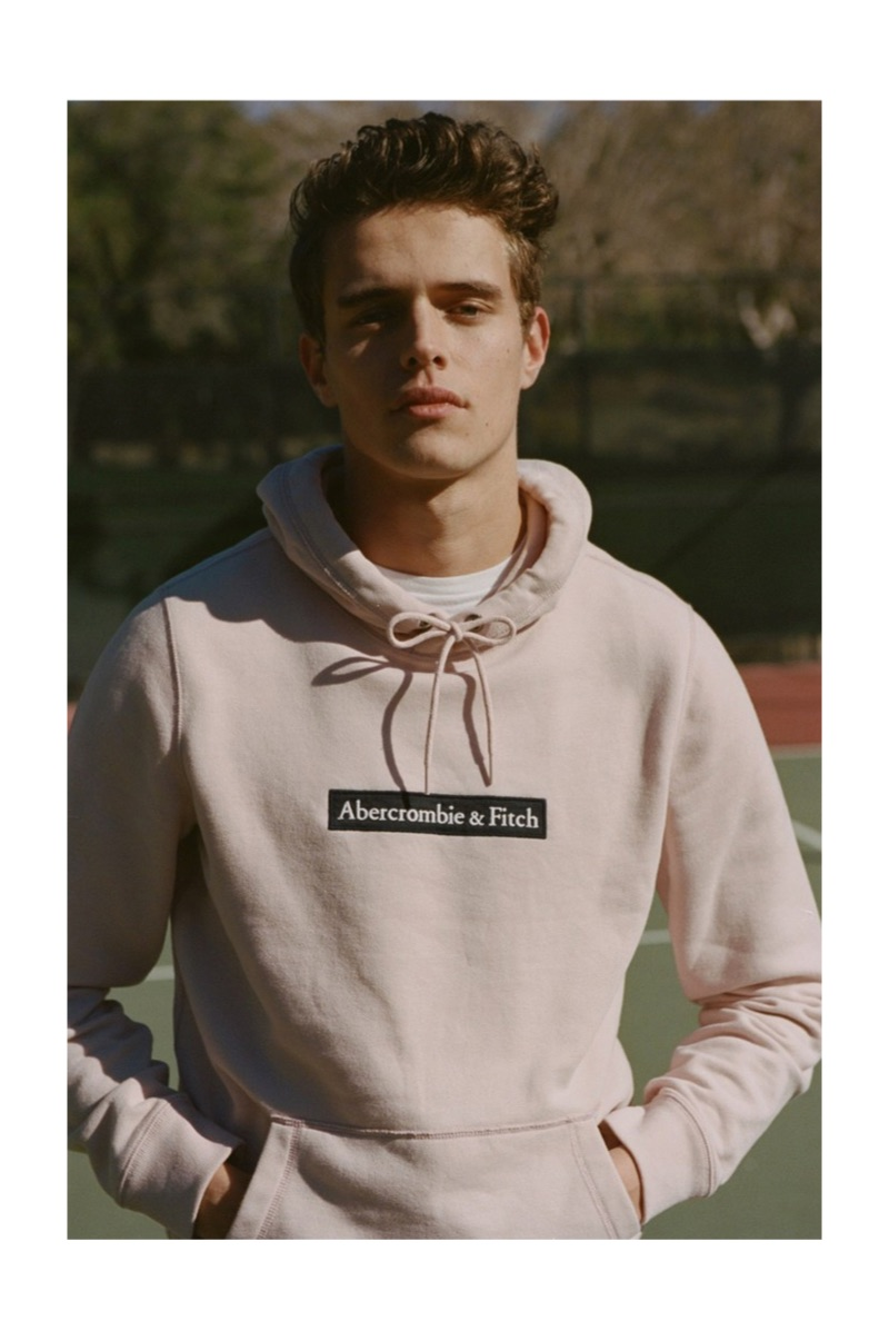 Jordy Baan sports an Abercrombie & Fitch hoodie for the brand's spring 2019 digital campaign.