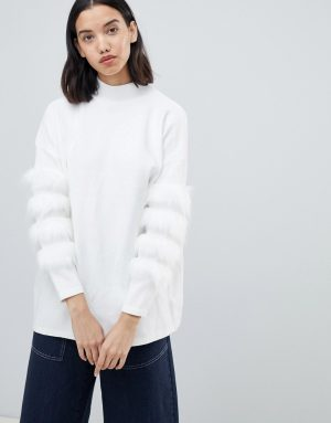 Amy Lynn high neck sweater with fur sleeve trim detail - Cream