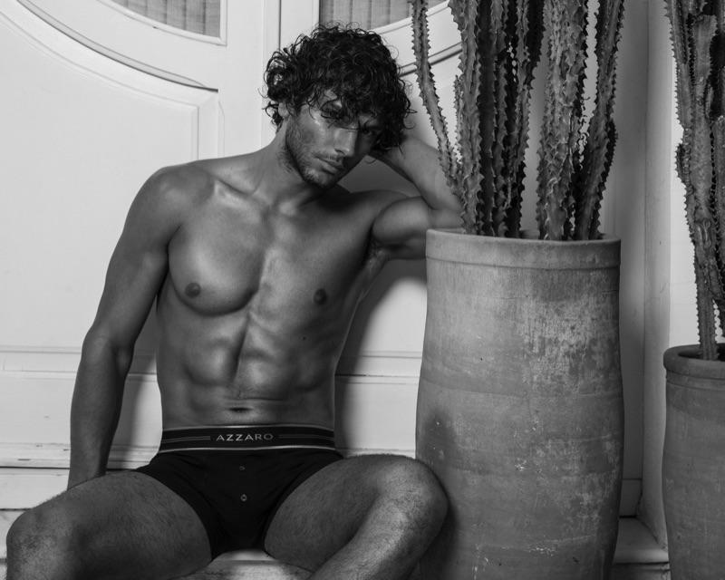Matteo Cupelli dons black underwear for Azzaro Paris' spring-summer 2019 campaign.