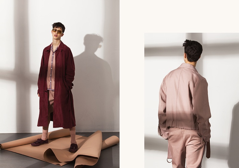 Donning rose-colored fashions, Fausto sports looks from BOSS' spring-summer 2019 collection.