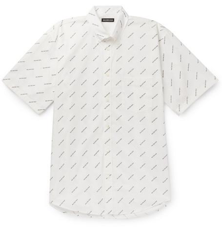 Balenciaga - Button-Down Collar Logo-Print Cotton-Poplin Shirt - Men - White