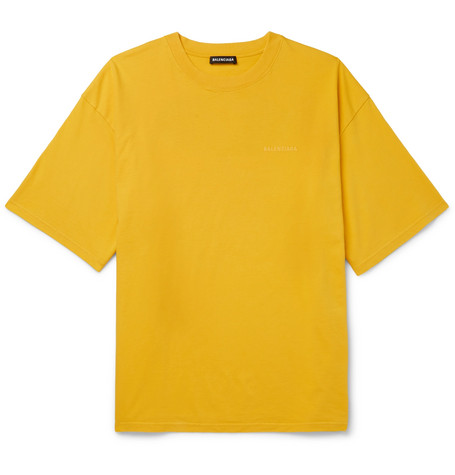 Balenciaga - Oversized Printed Cotton-Jersey T-Shirt - Men - Yellow